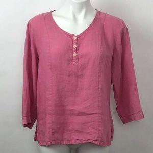 FLAX Blouse Pink 3/4 Sleeve Scoop Neck Linen Sz S